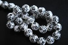 Pretty 20ps Black Plum Blossom Round Porcelain Beads Jewelry 10mm Charm Finding