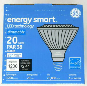 6 GE Energy Smart Dimmable 20w 150w Eqiv 1200 Lumen Par38 LED In Outdoor Flood