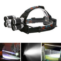 8000LM 5x T6 LED Headlight Headlamp 18650 USB Rechargeable Head Torch Zoomable J
