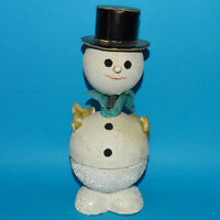 Vintage 8 In Bobble Head Snowman Christmas Candy Container US Zone Germany 1950s