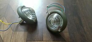NEW WILLYS FORD JEEP PARKING TURN SIGNAL INDICATOR GREEN CLEAR GLASS LIGHT PAIR