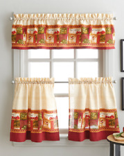 La Cucina 36L Tier and Valance Kitchen Curtain Set Tomatoes Olive Oil Herbs