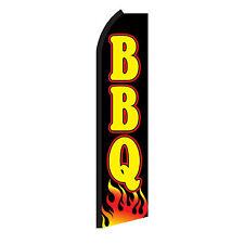 Bbq Black Advertising Sign Swooper Feather Flutter Banner Flag Only