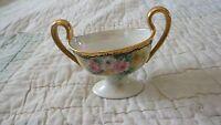 Vintage Limoges France Sugar Bowl T&V Marked Rose Pattern Gold Gilded Edge