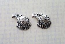 Small Oxidized Silver Eagle Head Stampings (2) - Soffa1722