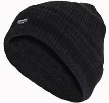 Mens Thin Isulated Knitted Woolly Chunky Thermal Beanie Outdoor Winter Ski Hat One Size Black Melange