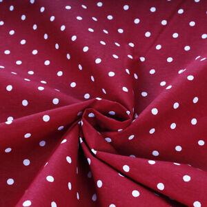 Tessuto Stoffa Cotone Fantasia Pois Bianco Fondo Rosso Taglio 280x280 cm