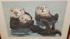 """JIM PESL """"THREE SEA OTTERS"""" LIMITED EDITION COLOR LITHOGRAPH WITH C.O.A."""