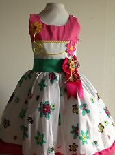 Girls Dress Size 3T Pink Floral Birthday Pageant Holiday Handmade 100% Cotton