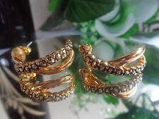 Vintage US AVON Black Accent Hoop INFINITY Earrings Jewelry BOLD ChunKy Big