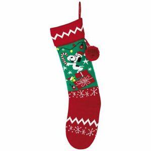 Hallmark Snoopy Peanuts Knit Xmas Stocking Red & Green Tassel Pom Pom NWT