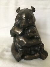 Cold Cast Bronze Mother & Baby Grizzly Bears Collectible Ornament Figurine
