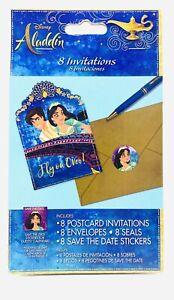 ALADDIN INVITATIONS (8) ~ Birthday Party Supplies Stationery Cards Notes Disney