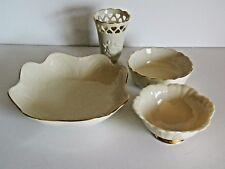 Lenox Porcelain Lot 4 Creamy Ivory White 24k Gold Trim Bowl Vase Roses Hearts