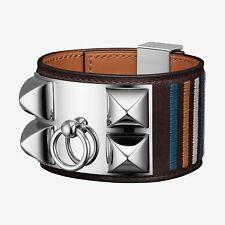 LIMITED Authentic Hermes Ebene Rocabar Stripes CDC Collier de Chien bracelet