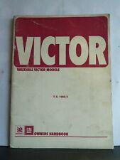 VAUXHALL VICTOR SERIES FE OWNER'S HANDBOOK 1972 TS1066/3