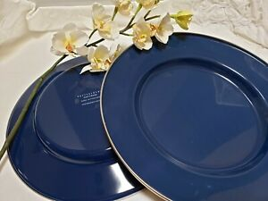"""2 Pottery Barn Navy Blue Chargers 12"""" Plates Enamelware Metal Golden Rabbit"""