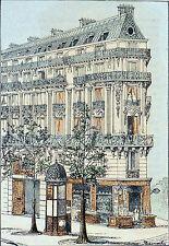 IMMEUBLE HAUSSMANNIEN & KIOSQUE à JOURNAUX au 19e siècle - Planche du 19e siècle