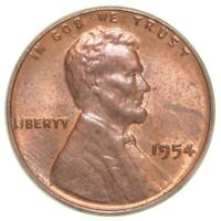 1954S USA Lincoln Wheat Penny Coin - One Cent 1¢ - UNC red - mint lustre