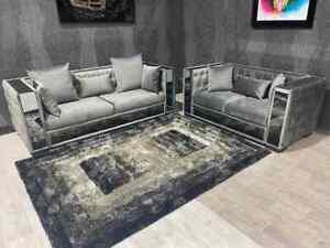 *SALE* Velentina 3+2 Sofa Set Mirrored Grey ASAP Delivery