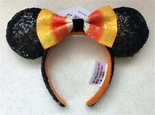 New Disney Parks Candy Corn Minnie Black Ears Halloween With Orange Bow Headband