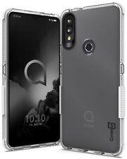 For Alcatel 3V 2019 Case Clear / White Trim TPU Soft Gel Slim Phone Cover