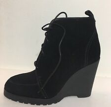 NEW Michael Kors Black Piper Mid Calf Lace Up Women Boots Size 11