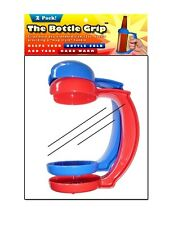 Bottle Grip Soda/Beer Mug Handle Pack Of 2 Red & Blue P & P Imports New