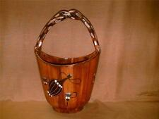Italy Hand Painted Pottery Basket w/ Handle-Wine Bottle-Grapes-Vines-Ladder-Cute
