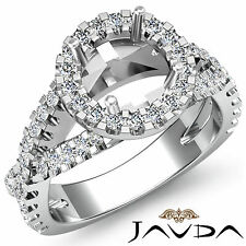 Diamond Engagement Unique Ring Halo Prong 14k White Gold Round Semi Mount 0.9Ct