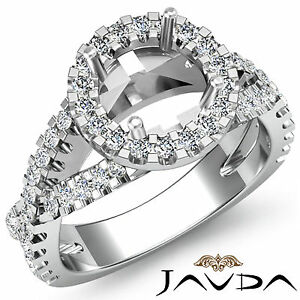 Diamond Engagement Unique Ring Halo Prong 14k White Gold Round Semi Mount 0.9Ct
