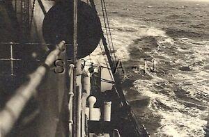 WWII German Navy Large RP- Kriegsmarine- Warship- Waves- North Sea- Convoy- 1942