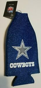 Dallas Cowboys NFL Glitter Zip Up Bottle Coozie Koozie Insulator Holder Cowboys