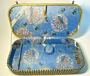 Antique 1920s Era Sewing Box Large Mending Darning Needlework Case Wood Fabric
