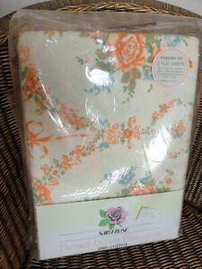 Double Brushed Cotton Flannelette Sheets Pillowcases Orange Floral Vintage NEW