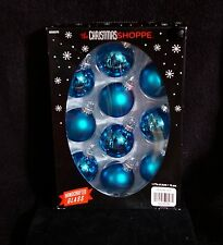 Pretty Turquoise Mrcury Glass Christmas Ball Ornaments  - NIB