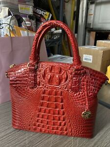 Brahmin M Duxbury Satchel in Lava  Melbourne Croc Embossed Leather New