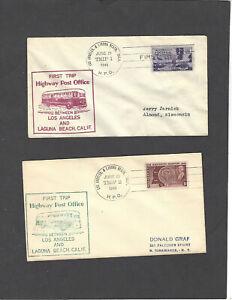 HIGHWAY POST OFFICE COVERS LOS ANGELES & LAGUNA BEACH,CA JUN 21-1948 TRIP 1 & 2