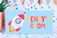 Personalised Handmade Rocket Boys Name Plaque Bedroom Door Sign