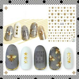 Nail Art Water Decals Stickers Buzzing Bumble Bees Busy Bees Honey Bee (CA197)