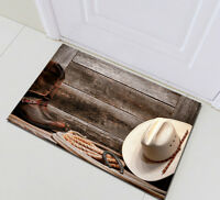 Western Cowboy Rustic Wood Home Decor Floor Mat Bedroom Bath Carpet Non-Slip Rug