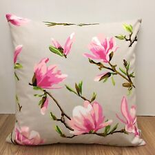 739. Handmade PINK MAGNOLIA ON GREY 100% Cotton Cushion Cover Various sizes