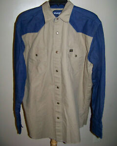 Wrangler Mens LS Tan Denim Snap Shirt Size Tall LT EUC