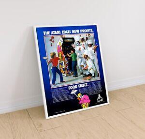 Food Fight Atari 1983 Arcade Video Game Retro Print Poster 18 x 24 inches