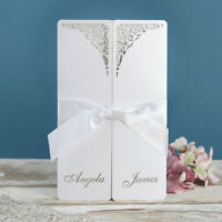 Laser Cut Handmade Personalised White Gatefold Luxury Wedding Invitation Sample