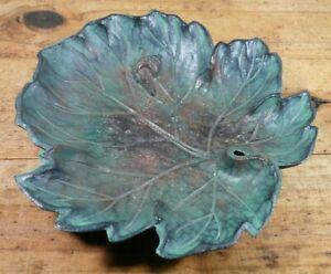 """Vintage TOYO Japan Cast Iron Leaf with Snail Dish Verdigris 8"""""""