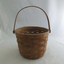 "Signed 1987 Longaberger Handwoven Small Round Fruit Basket, Swing Handle 5"" x 6"""