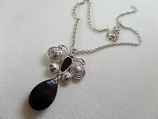 GOTHIC RETRO DECO STYLE BLACK & SILVER BUTTERFLY NECKLACE new GIFT POUCH