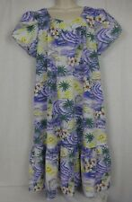 KY'S Hawaiian Women's Dress ~ Traditional Square Collar MuuMuu~ Hibiscus & Ocean