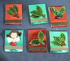 Vintage Lot of 6 Christmas Foil w Holly & Bells & Girl Books of Matches NICE T77